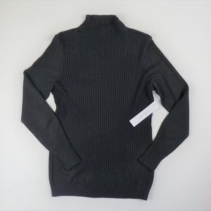 Tribal Brand Black Stretch Ribbed Sweater Top